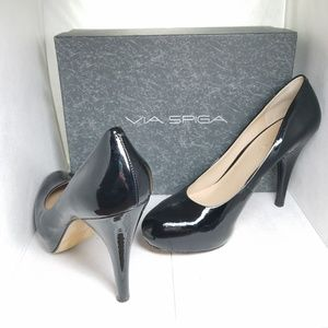 Via Spiga Anita black patent platform with box
